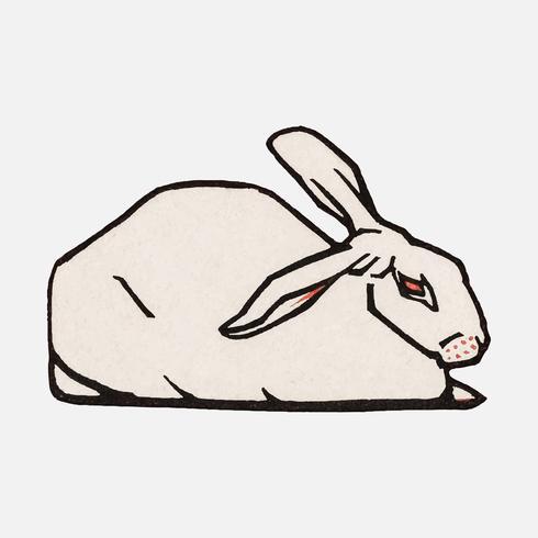 Lying rabbit (1916) di Julie de Graag (1877-1924). Originale dal Museo Rijks. Miglioramento digitale di rawpixel.