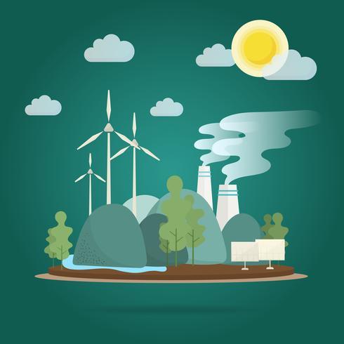 opwarming van de aarde effect behoud van het milieu vector