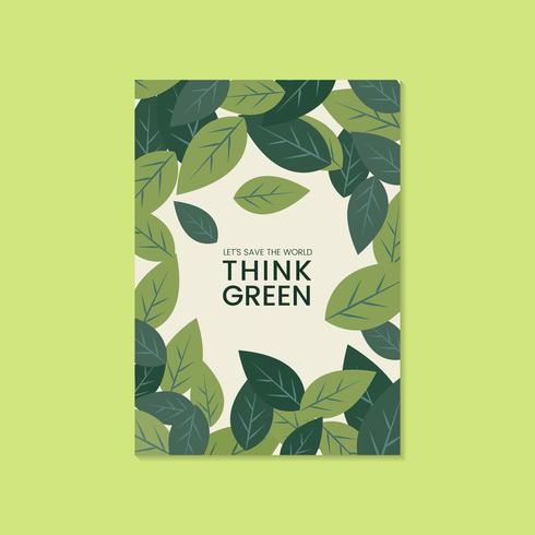 Tänk gröna miljöbevarande broschyrvektor