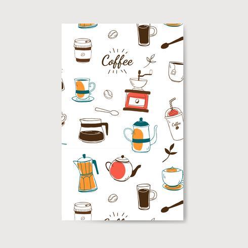 Café e café vetor padrão de casa