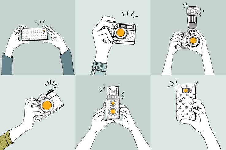Desenho conjunto de mãos tirando fotos