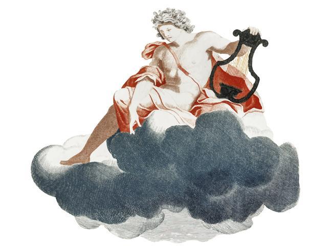 Illustrazione d'epoca di Apollo sulle nuvole