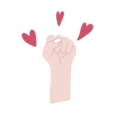 Feministisk näven omgiven av hjärtan vektor