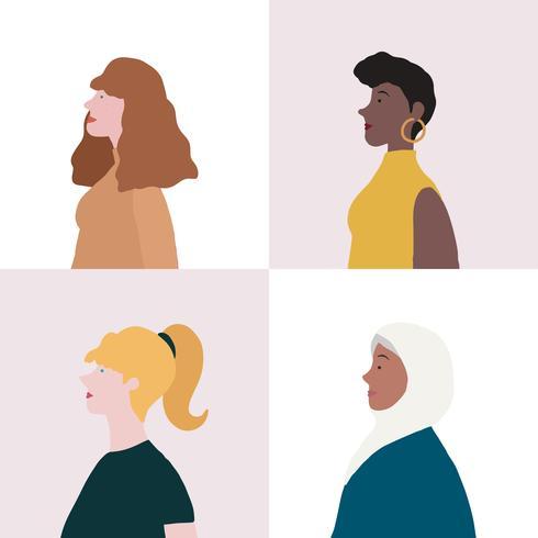 Samling av kvinnor i profilvektor