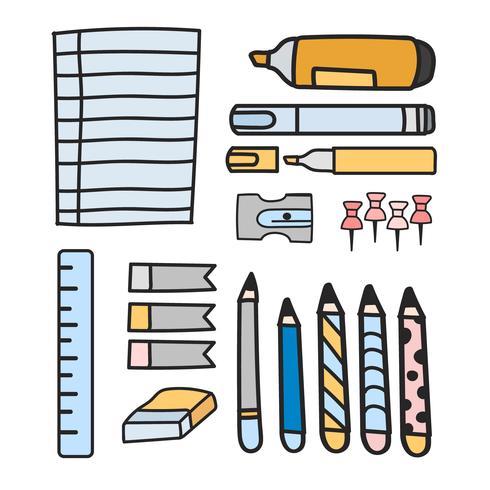 Vector conjunto de estilo de papelaria doodle