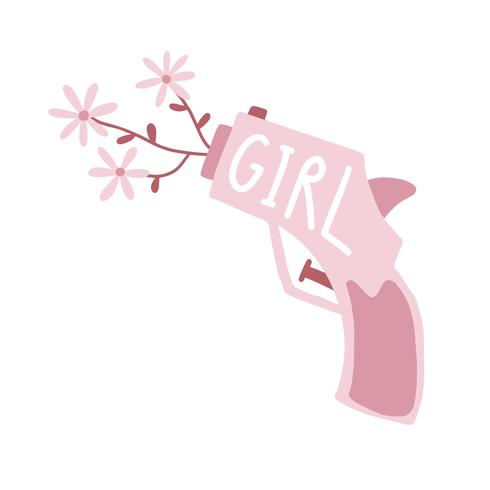 Rosa Mädchengewehr, das heraus Blumenvektor schießt