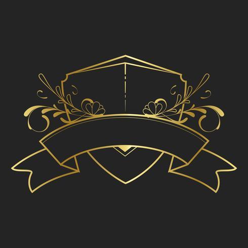Jugendstil goldener Jugendstil-Ausweisvektor