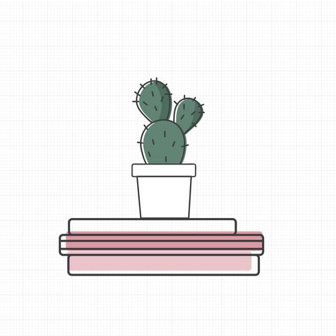 Vettore di cactus sui libri