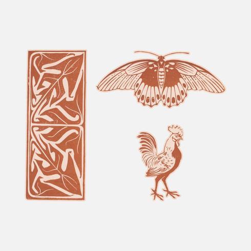 Ornamento di farfalle, gallo e foglie (1901) di Julie de Graag (1877-1924). Originale dal Museo Rijks. Miglioramento digitale di rawpixel.