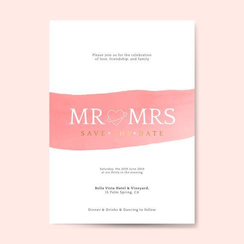 Rosa bröllop inbjudningskort vektor