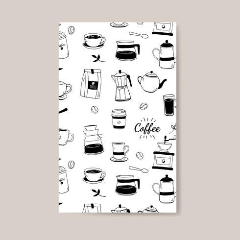 Kaffehus och café mönstrad bakgrunds vektor
