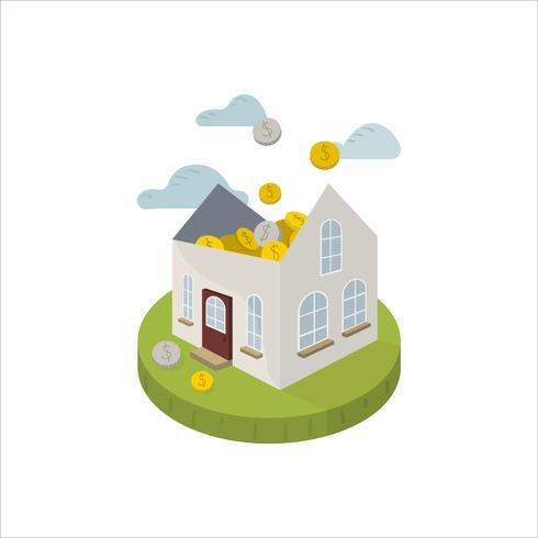 Illustrazione dei risparmi per un'icona della casa