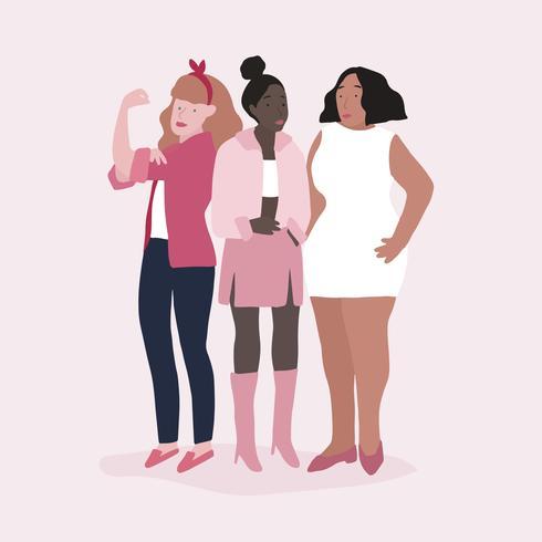 Grupp av starka kvinnor vektor