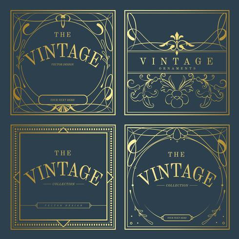 Satz goldene Jugendstilausweise der Weinlese auf blauem Vektor