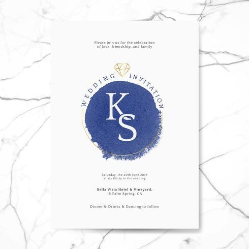 Vettore di carta invito matrimonio blu