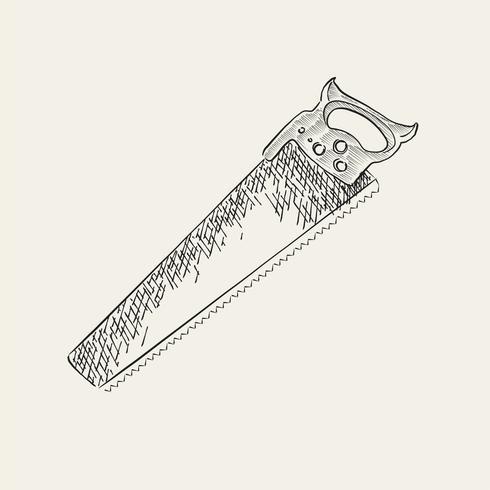 Ilustração vintage de uma serra