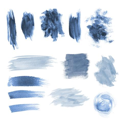 Blue grunge brushstroke design vector set