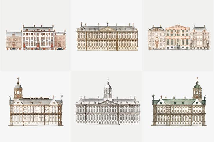 Ilustração Vintage do conjunto de casas de canal em Amsterdam Conjunto de casas de canal em Amsterdam