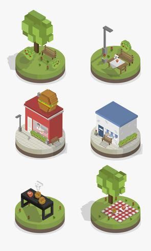 Vectorreeks pixelated park en stadsmodellen