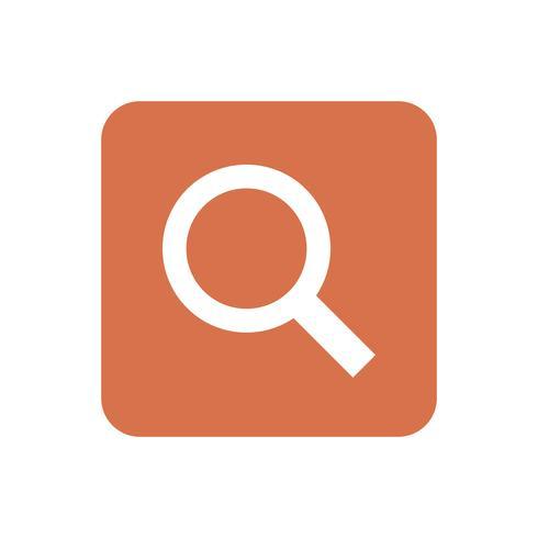 Lupe auf orange quadratischer grafischer Illustration