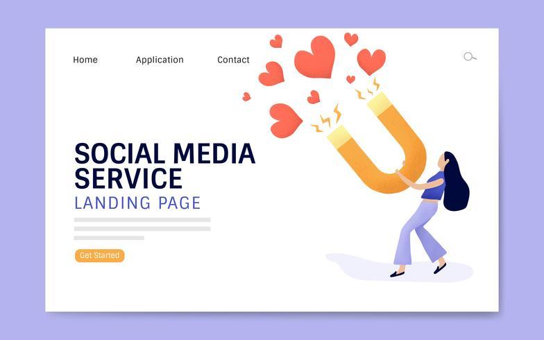 Social media service målsida layout vektor