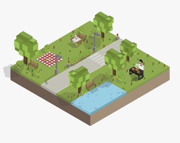 Vecteur d'un parc pixelisé