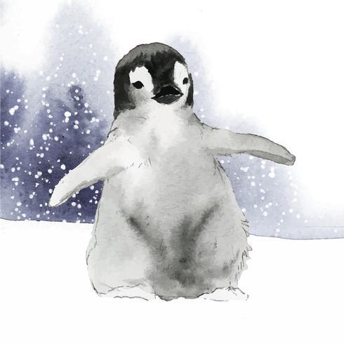 Jovem Pinguim-imperador no vetor de aquarela de neve