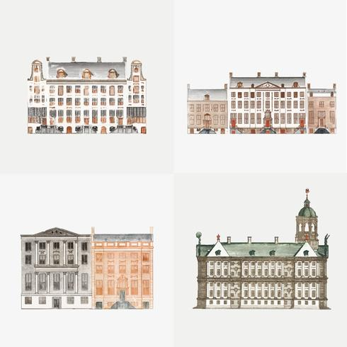 Weinleseillustration des Satzes Kanalhäuser in AmsterdamSet Kanalhäuser in Amsterdam