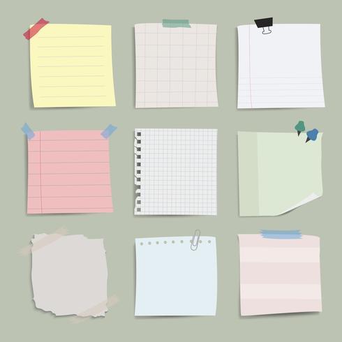 Insieme di vettore di note di carta vuoto promemoria