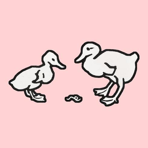 Two ducklings (1923-1924) by Julie de Graag (1877-1924). Original from the Rijks Museum. Digitally enhanced by rawpixel.