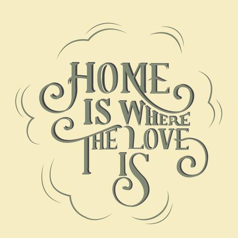 Hem är där kärleken är typografi design illustration