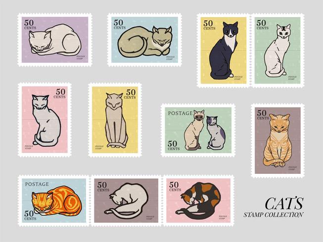 Conjunto de sellos con gatos. Elementos del dominio público, modificados por rawpixel.