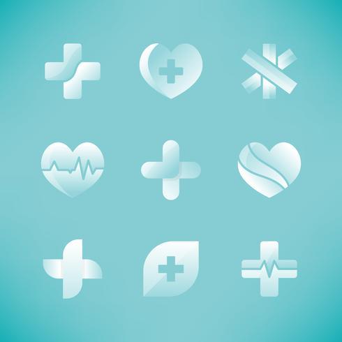 Set med medicinska ikoner 3D-design