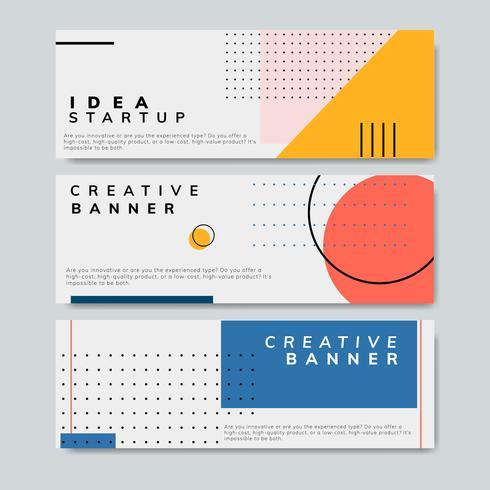 Banner di design grafico minimalista di Memphis