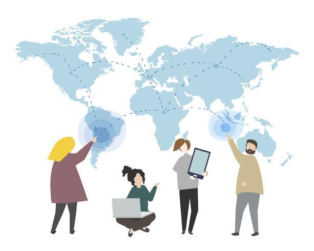 Online gegevens en wereldwijde verbindingsillustratie