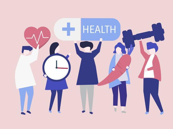Charactes van mensen die de illustratie van gezondheidspictogrammen houden