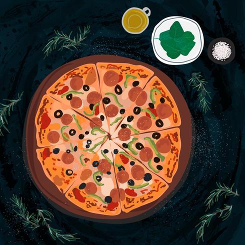 Stor italiensk pizzaillustration