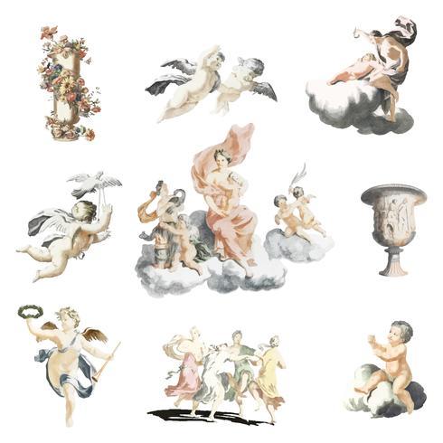 Ilustración vintage de figuras de la mitología romana