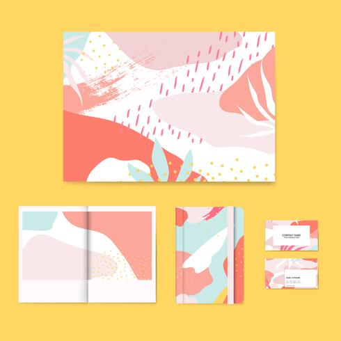 Colorful Memphis design layout vector set