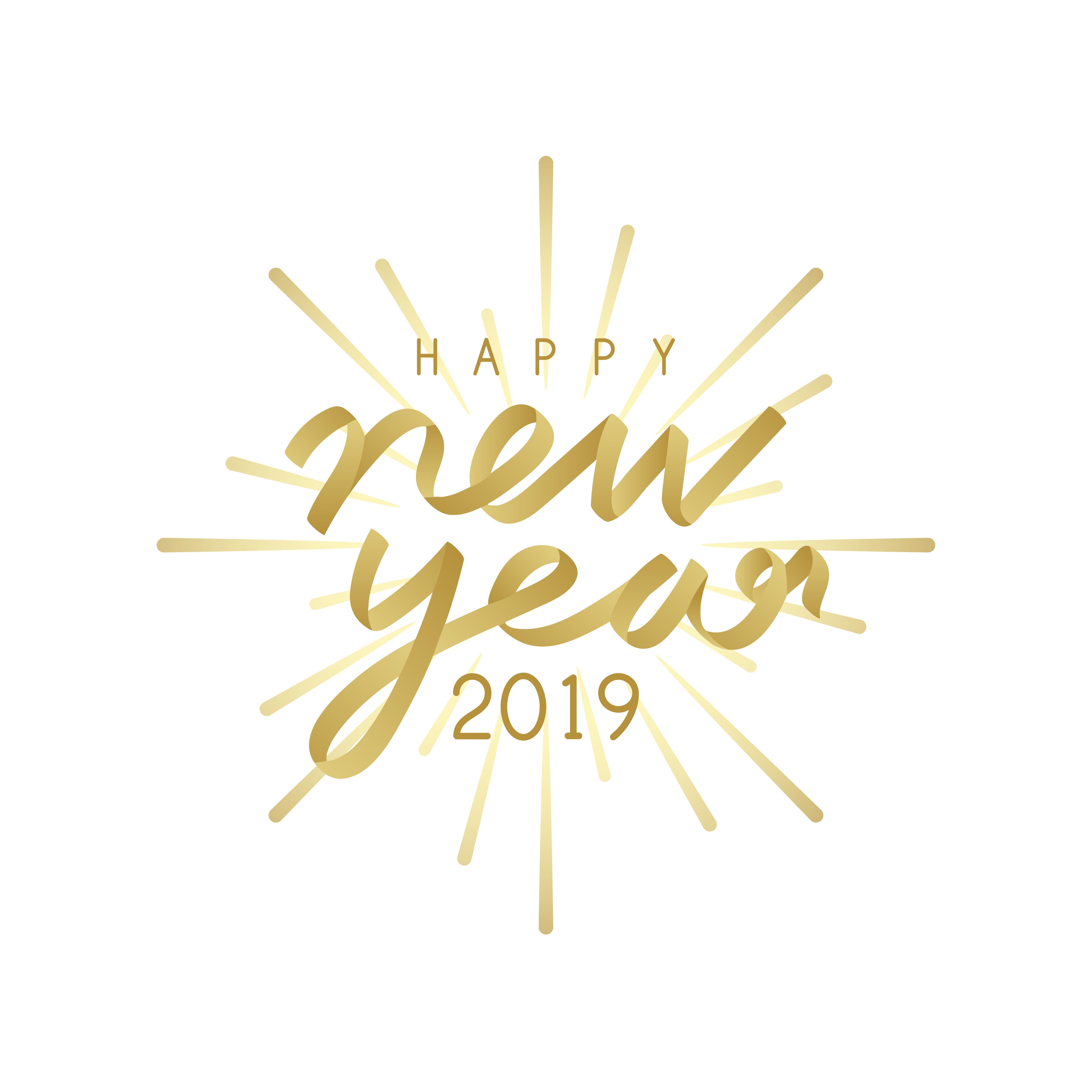Happy new year 2019 badge vector - Download Free Vectors ...