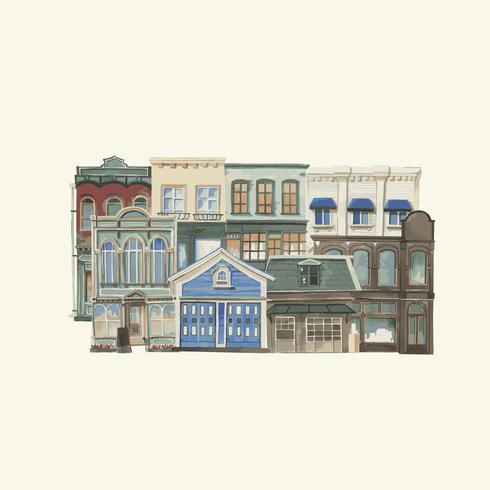 Illustration d'un style de couleur de l'eau extérieure d'une ville européenne vintage