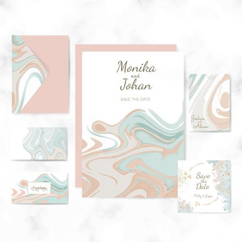 Wedding invitation set layout vector