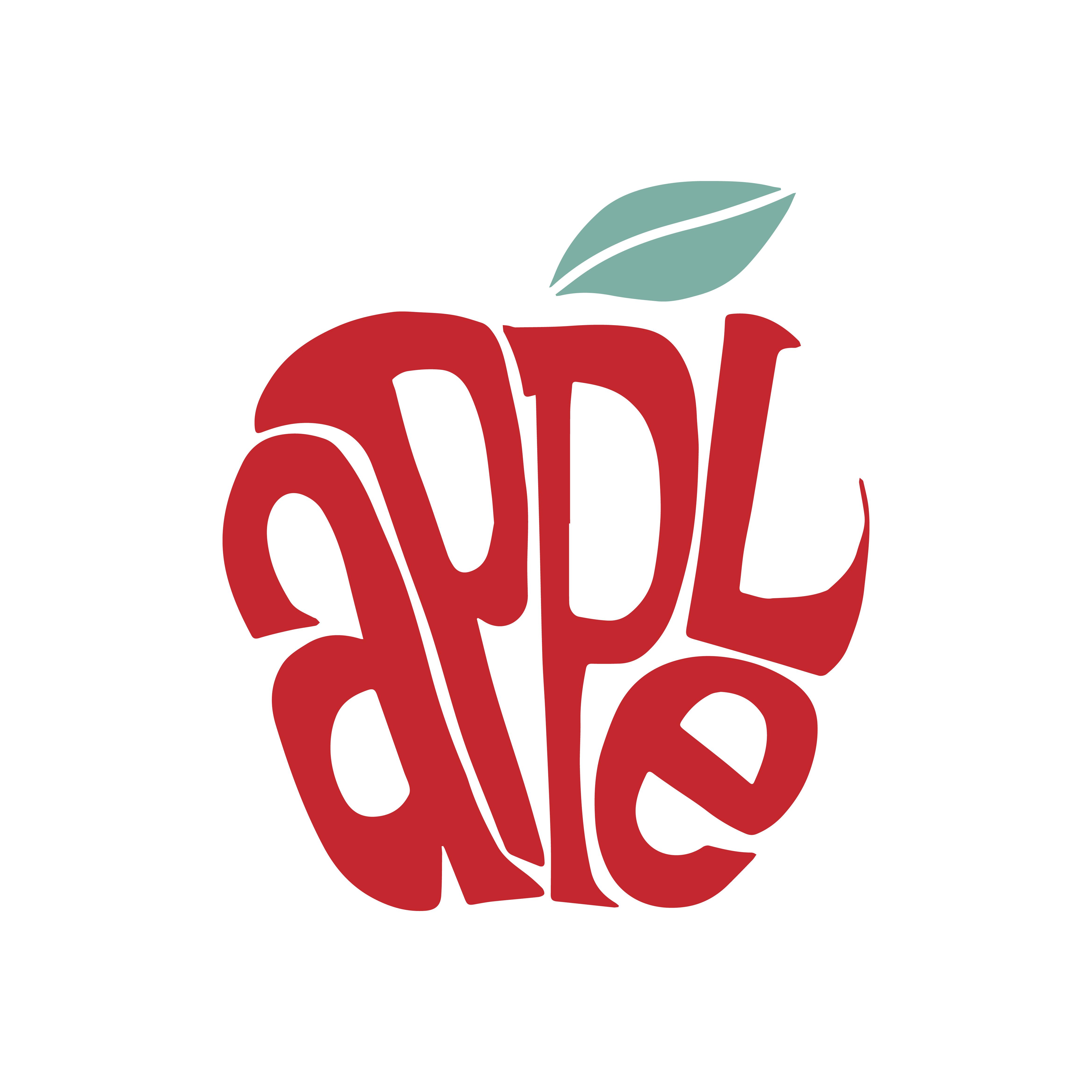 Mint Leaves Organic Logo Concept: Apple Word Typography Design Illustration