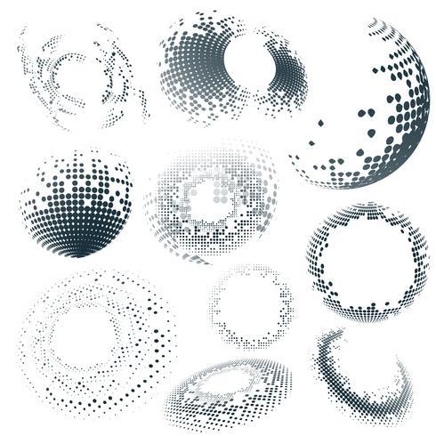 Distintivo di semitono nero su sfondo bianco set vettoriale