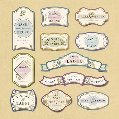 Weinlesehochzeitseinladungsaufkleber-Vektorsatz
