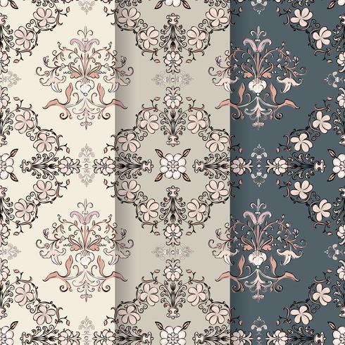 Vintage bloeien patroon achtergrond instellen