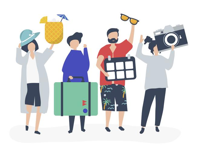 Turister åker på en tropisk semester