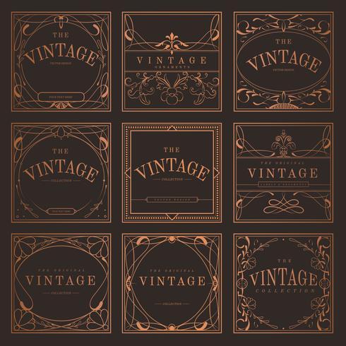 Set van vintage bronzen art nouveau badges vector