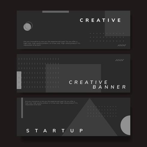 Set of minimal Memphis start-up creative banner vector