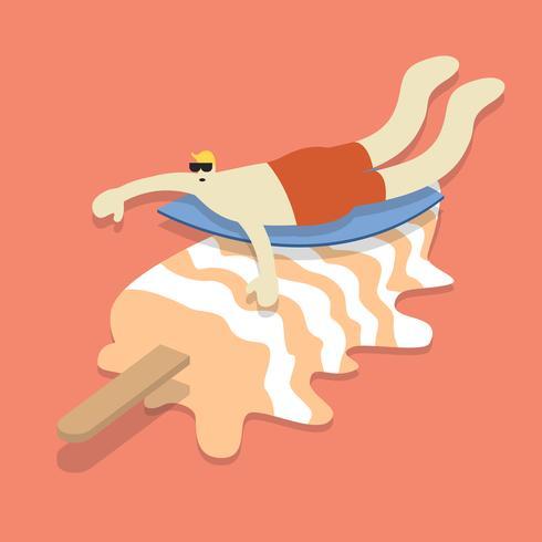 Vector van een mens die op een roomijsstok surft